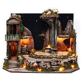 Settings, houses, workshops, wells: Nativity scene setting village with starry sky 75x40x50 cm for 10-12 cm characters