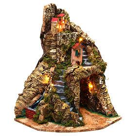 Nativity scene corner setting Neapolitan village 30x30x40 cm for 6-8 cm characters s1