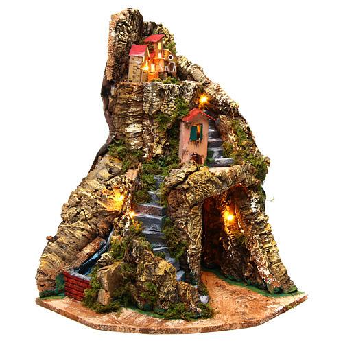 Nativity scene corner setting Neapolitan village 30x30x40 cm for 6-8 cm characters 1