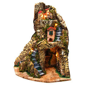 Corner village setting for Neapolitan Nativity Scene 6-8 cm, 30x30x40 cm s2