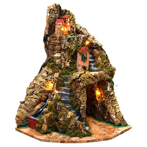 Corner village setting for Neapolitan Nativity Scene 6-8 cm, 30x30x40 cm 1
