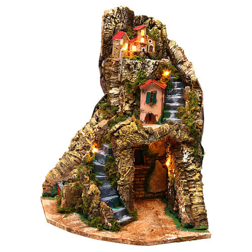 Corner village setting for Neapolitan Nativity Scene 6-8 cm, 30x30x40 cm 2