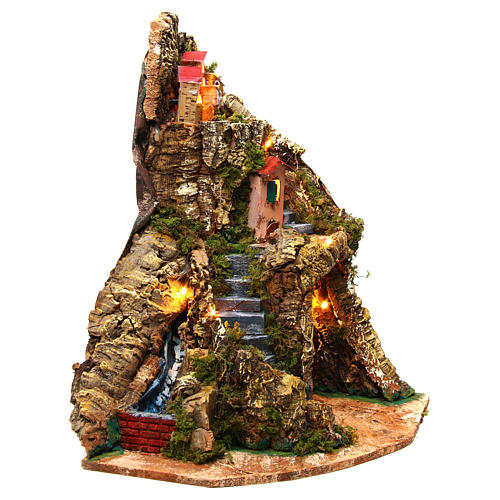 Corner village setting for Neapolitan Nativity Scene 6-8 cm, 30x30x40 cm 3
