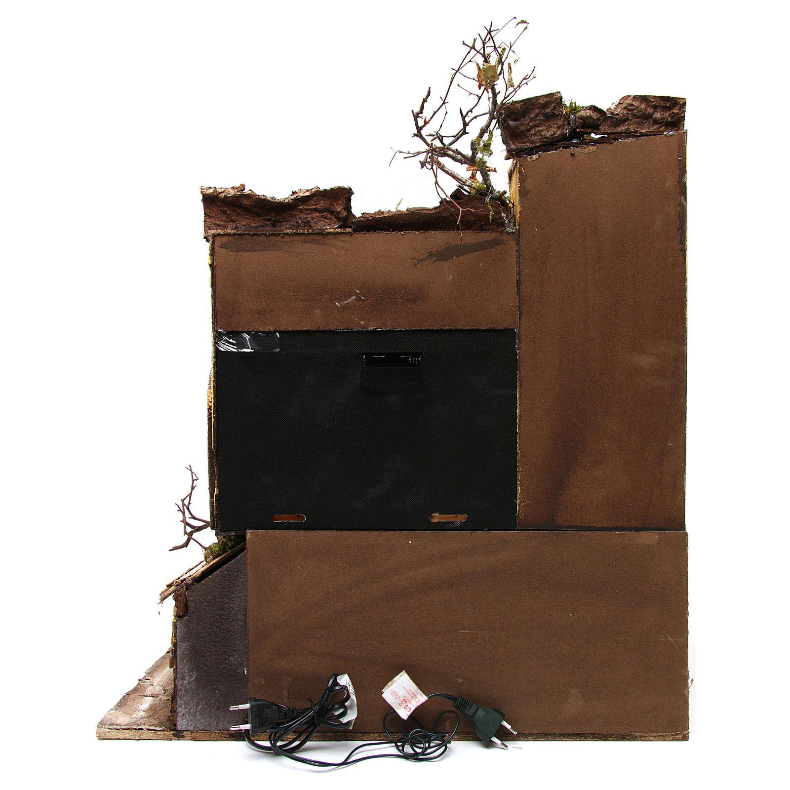 Ambientazione stile napoletano con cielo e mulino 60x50x65 cm per presepe 10-12 cm 4