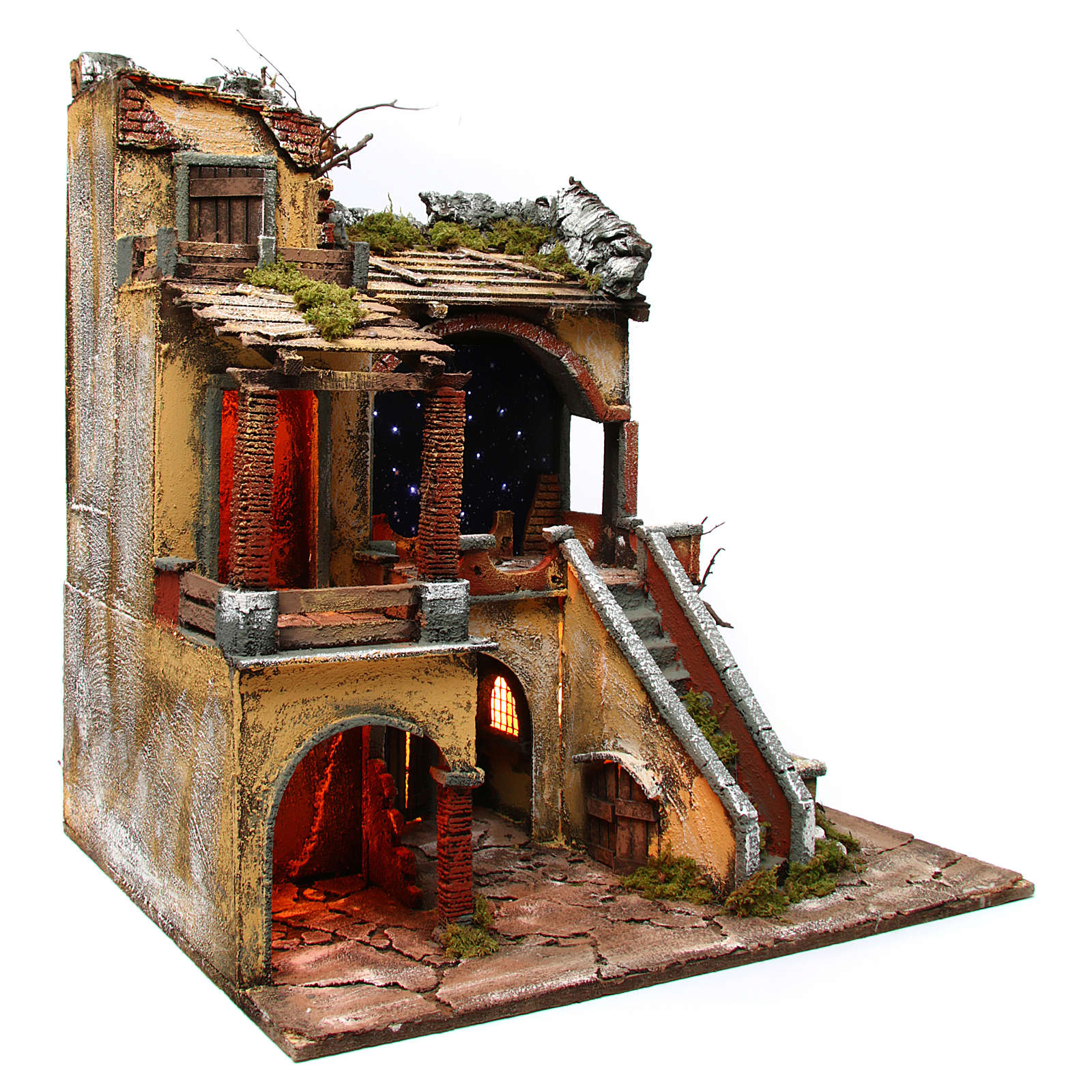Village setting with starry sky and water mill for Neapolitan Nativity Scene 10-12 cm, 60x50x66 4