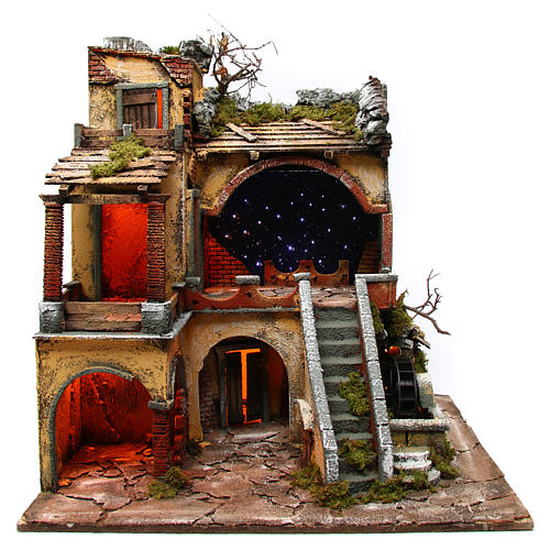 Village setting with starry sky and water mill for Neapolitan Nativity Scene 10-12 cm, 60x50x66 1
