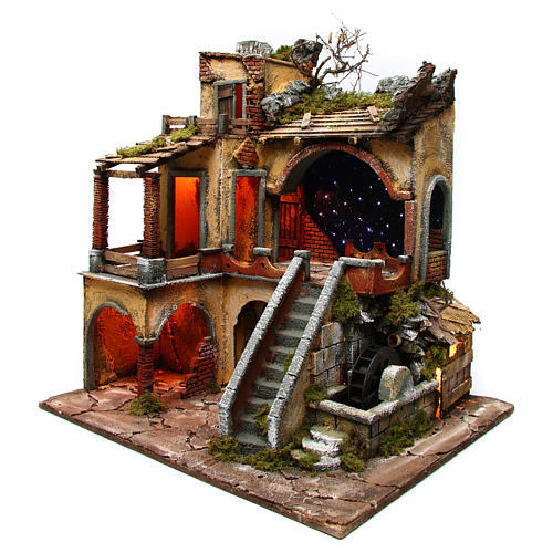Village setting with starry sky and water mill for Neapolitan Nativity Scene 10-12 cm, 60x50x66 2