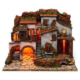 Ambientações para Presépio: lojas, casas, poços: Aldeia napolitana com fontanário 60x40x50 cm para presépio com figuras de 6-8 cm de altura média