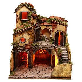 Ambientações para Presépio: lojas, casas, poços: Aldeia com forno 40x40x50 cm para presépio napolitano com figuras de 10 cm de altura média