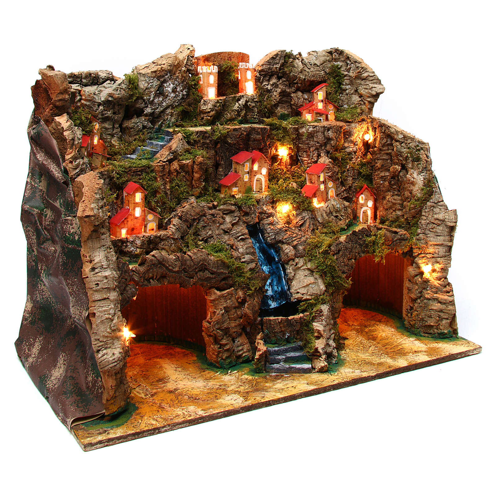 Nativity scene setting with water stream 60x35x50 cm for 10-12 cm characters 4