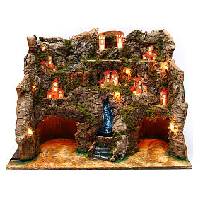 Nativity scene setting with water stream 60x35x50 cm for 10-12 cm characters s1
