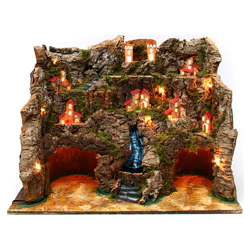 Nativity scene setting with water stream 60x35x50 cm for 10-12 cm characters 1