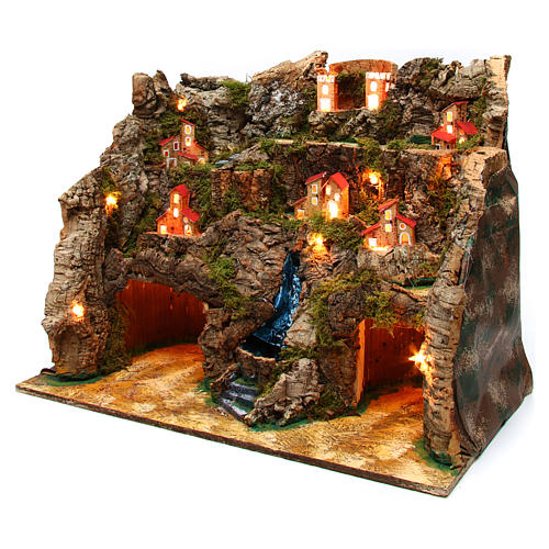 Nativity scene setting with water stream 60x35x50 cm for 10-12 cm characters 2