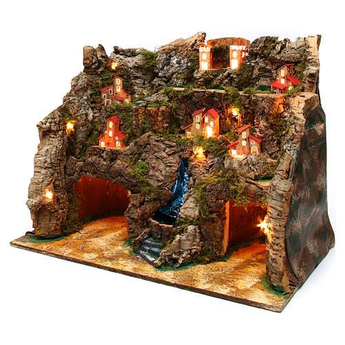 Village with water stream 60x35x50 cm for Nativity Scene 10-12 cm 2