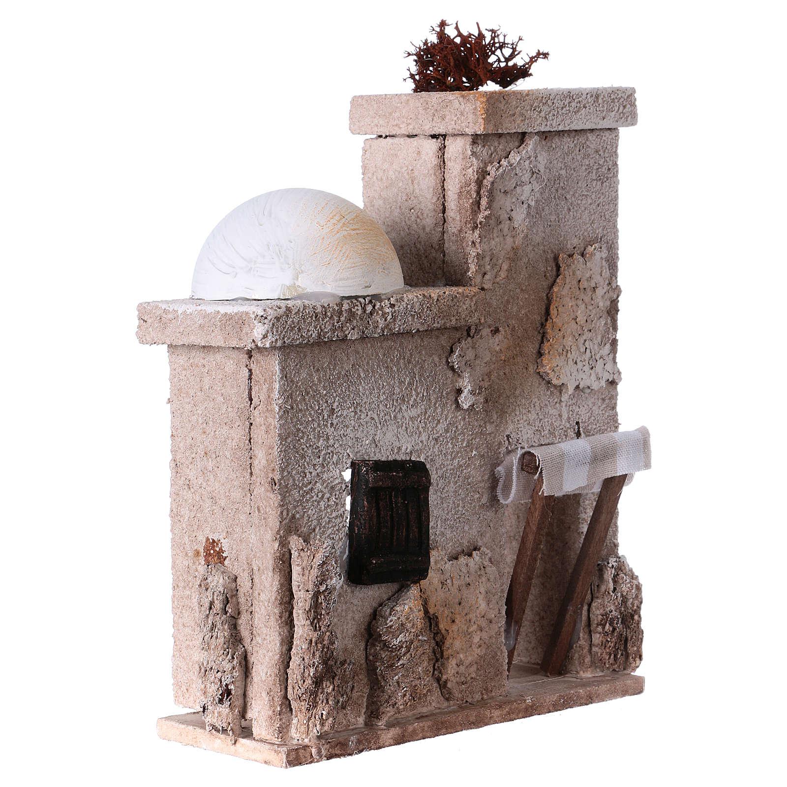 Small arabian style house front for 7 cm nativity scene, 15x15x5 cm 4