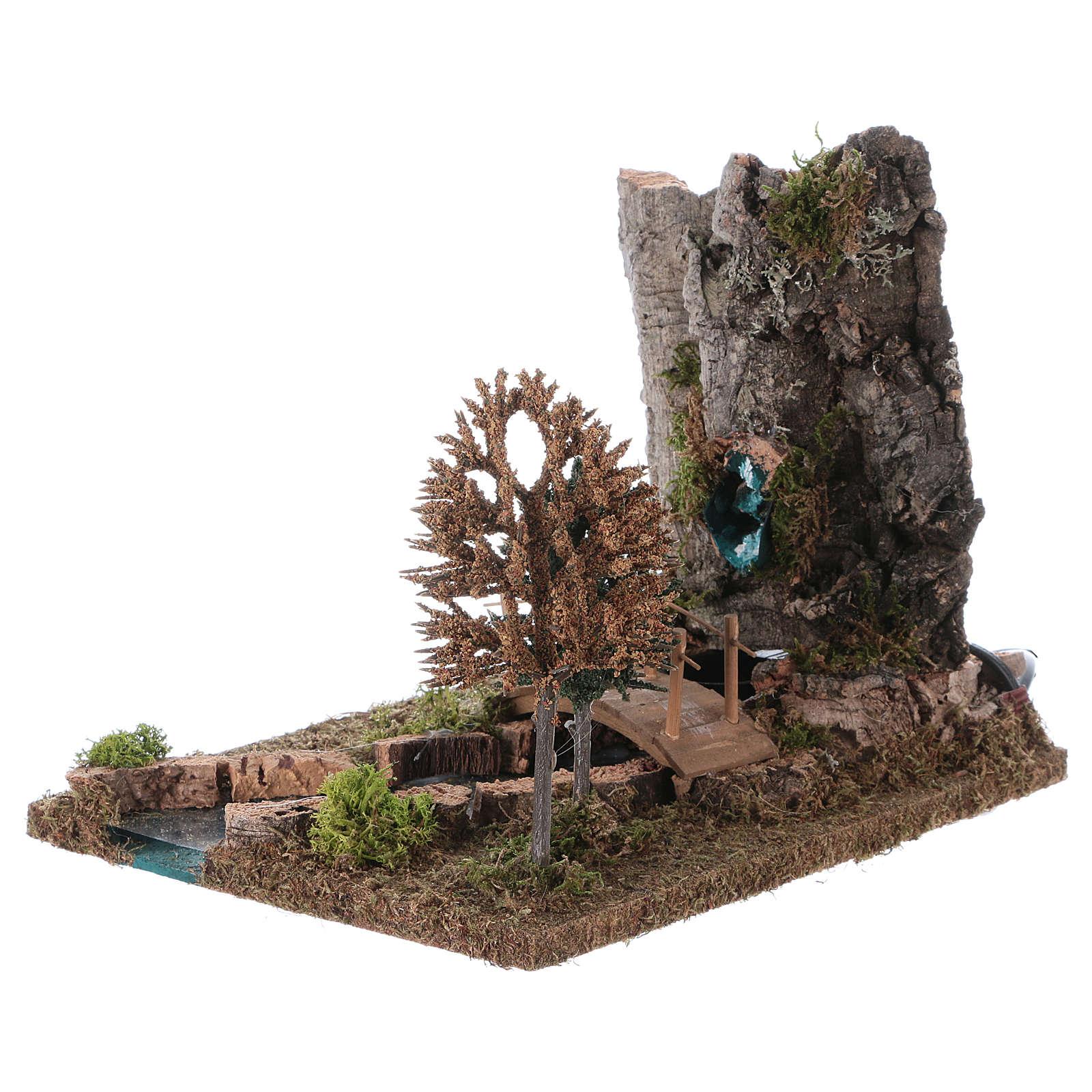 Fontaine avec rivière pour crèche 20x25x20 cm 4