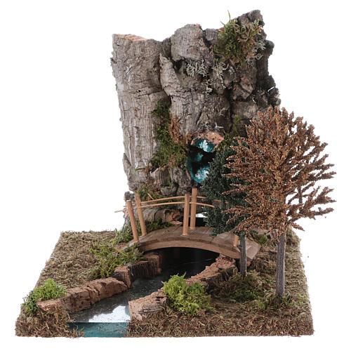 Fontaine avec rivière pour crèche 20x25x20 cm 1