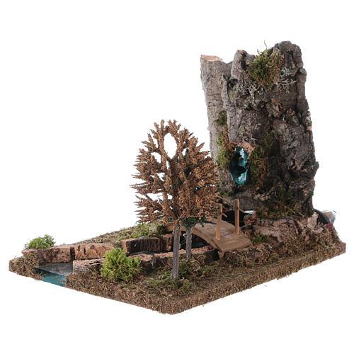 Fontaine avec rivière pour crèche 20x25x20 cm 2