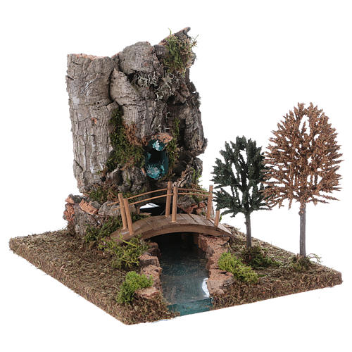 Fontaine avec rivière pour crèche 20x25x20 cm 3