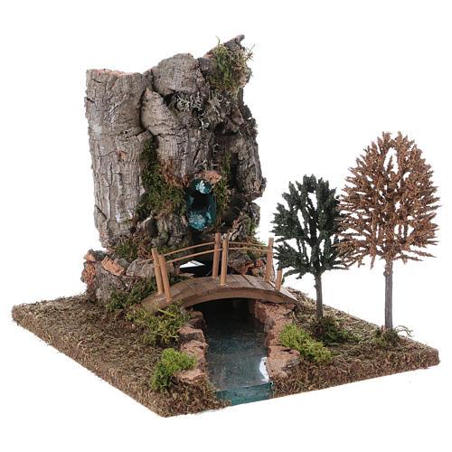 Fontana con fiume per presepe 20x25x20 cm 3