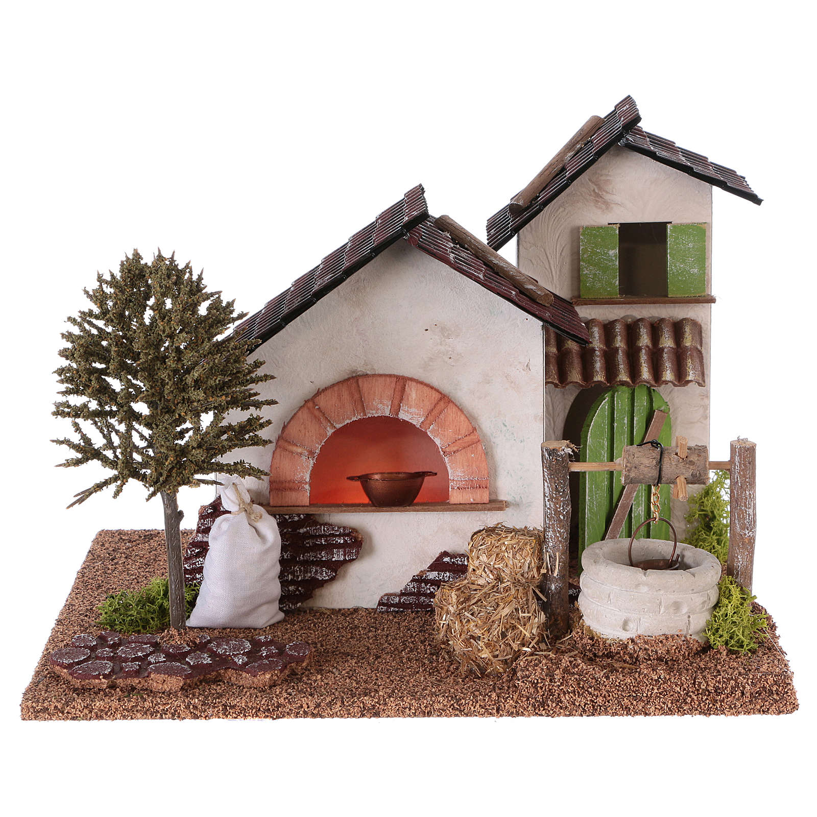 Farm with oven and well for Nativity scene 20x25x20 cm 4