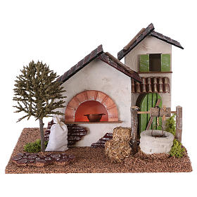 Farm with oven and well for Nativity scene 20x25x20 cm s1
