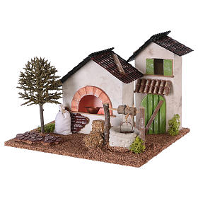 Farm with oven and well for Nativity scene 20x25x20 cm s2