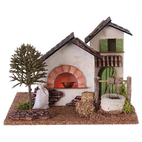 Farm with oven and well for Nativity scene 20x25x20 cm 1