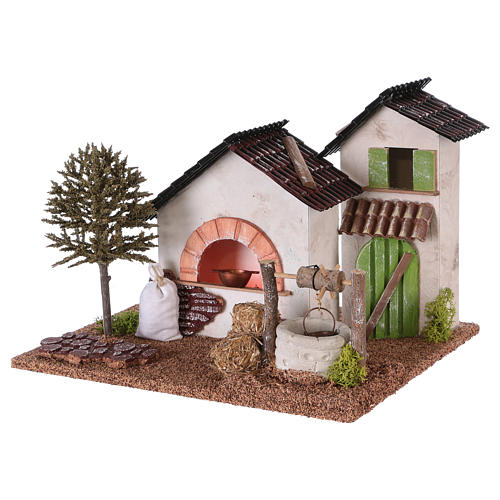 Farm with oven and well for Nativity scene 20x25x20 cm 2