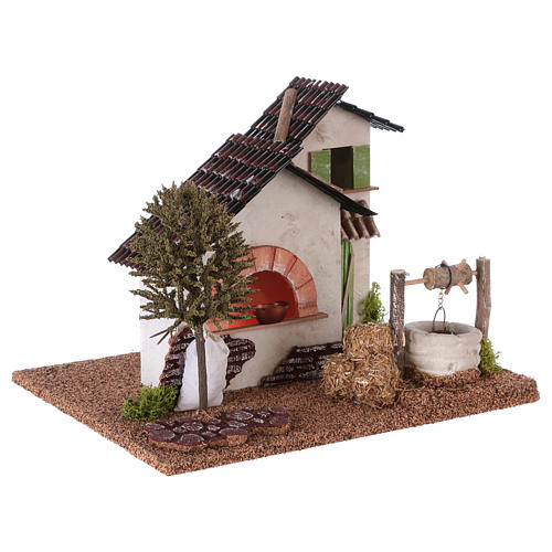 Farm with oven and well for Nativity scene 20x25x20 cm 3