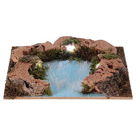 River outlet for Nativity scene with lights, battery-powered 15x15 cm s1