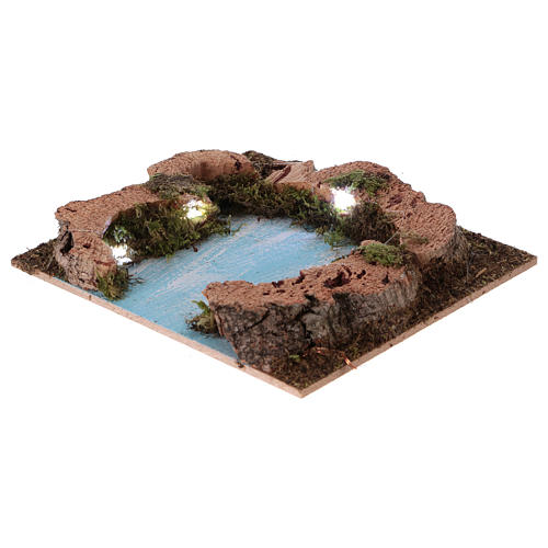River outlet for Nativity scene with lights, battery-powered 15x15 cm 2