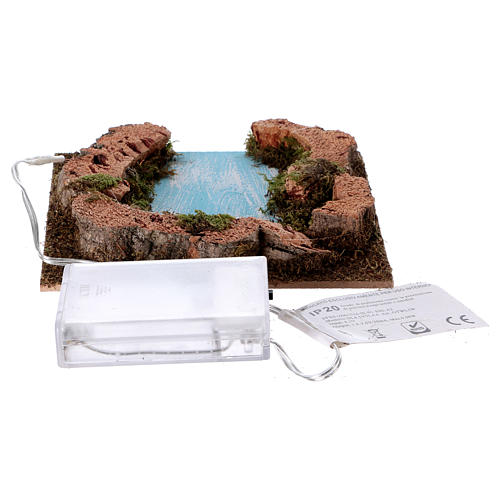 River outlet for Nativity scene with lights, battery-powered 15x15 cm 3