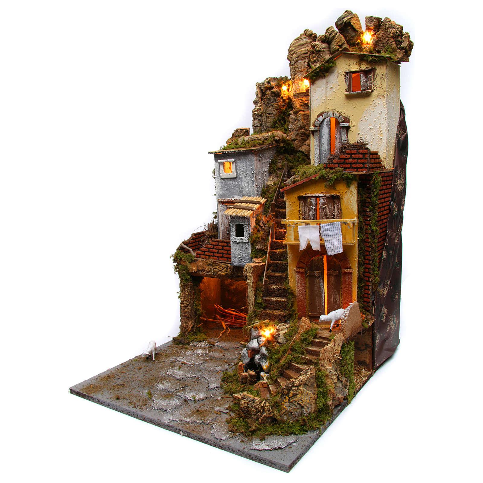 Szene für Krippe mit Hütte, Licht und Brunnen 45x50x70cm 4