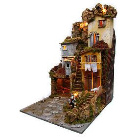 Szene für Krippe mit Hütte, Licht und Brunnen 45x50x70cm s2
