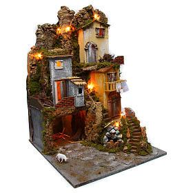 Szene für Krippe mit Hütte, Licht und Brunnen 45x50x70cm s3
