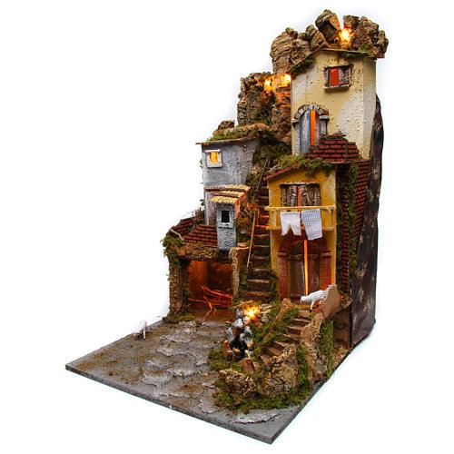 Szene für Krippe mit Hütte, Licht und Brunnen 45x50x70cm 2