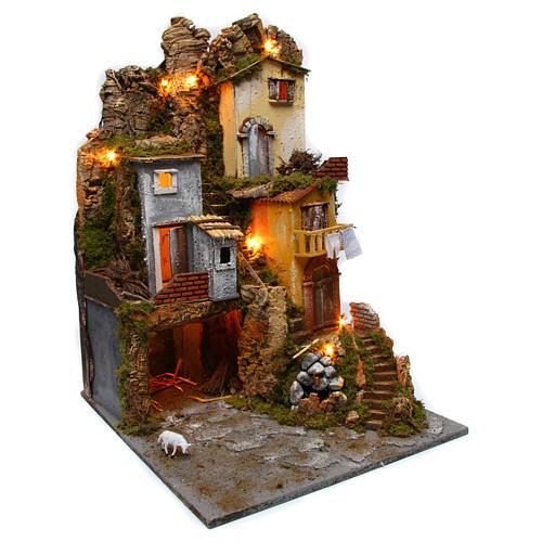Szene für Krippe mit Hütte, Licht und Brunnen 45x50x70cm 3