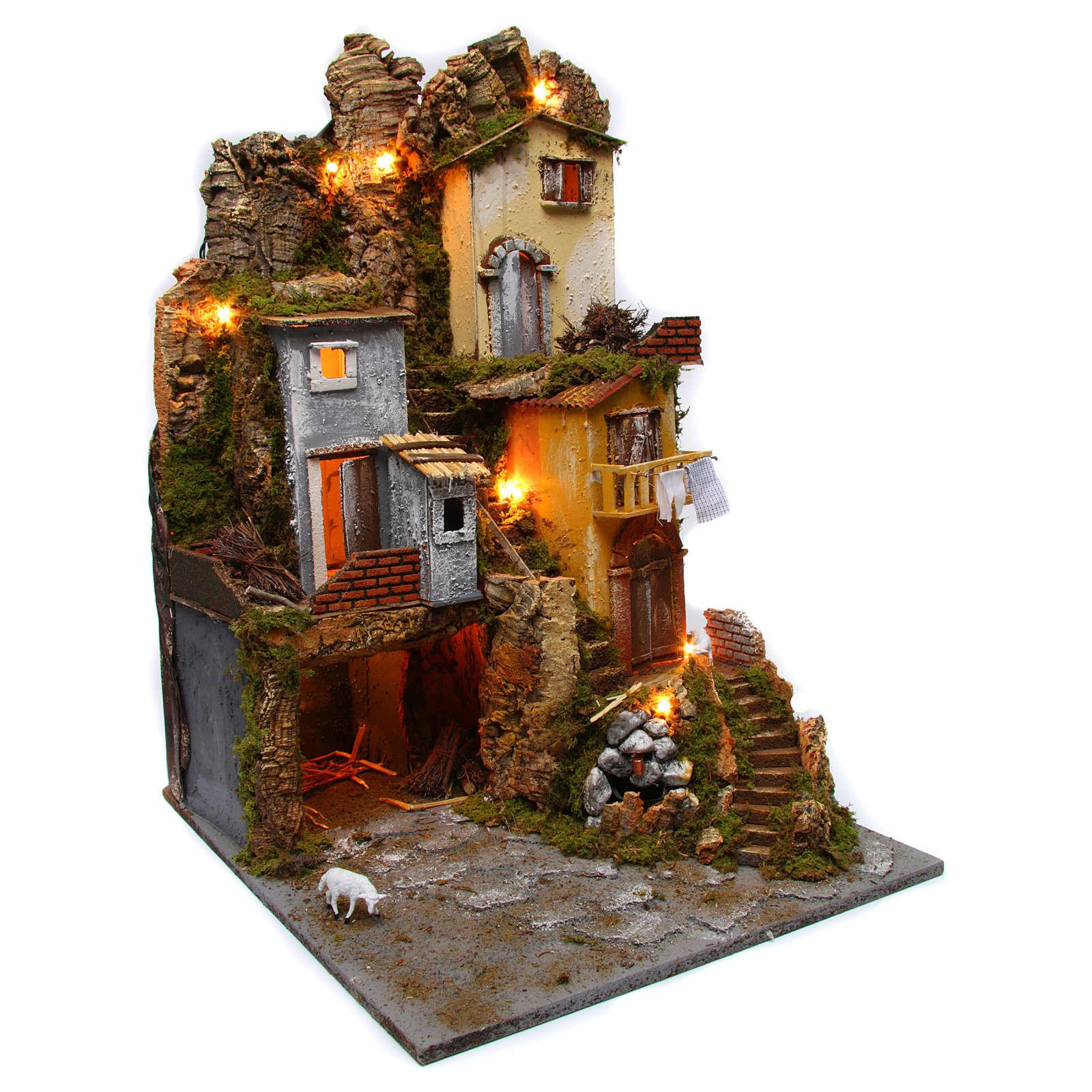 Décor de crèche lumières grotte nativité fontaine avec pompe 45x50x70 cm 4