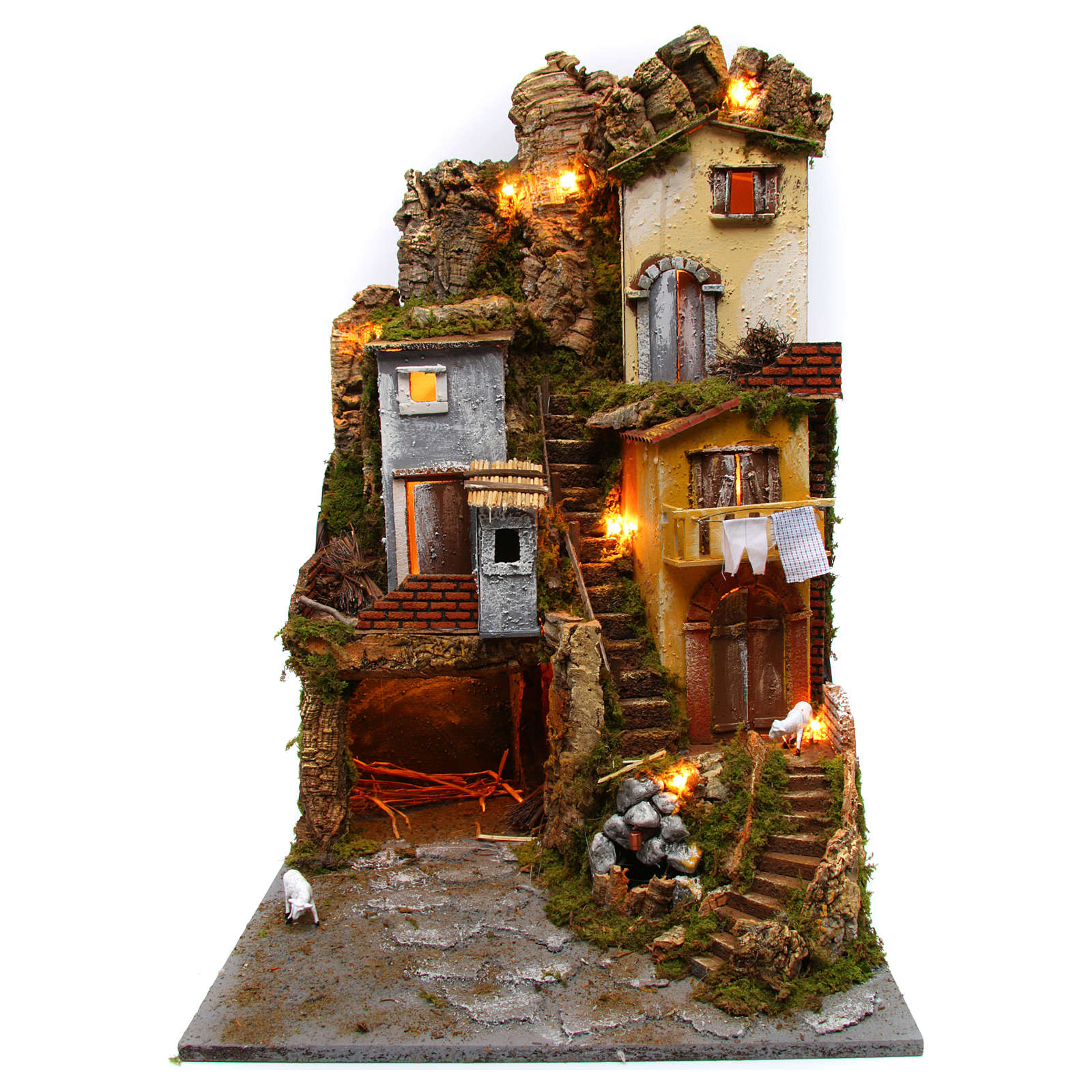 Nativity Rustic Hill Village Lights Grotto Fountain with Pump 45x50x70 cm 4
