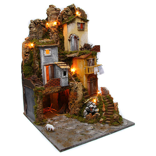 Nativity Rustic Hill Village Lights Grotto Fountain with Pump 45x50x70 cm 3