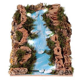 Ponts, ruisseaux, palissades pour crèche: Chutes d'eau crèche lumières à piles 15x20x15 cm