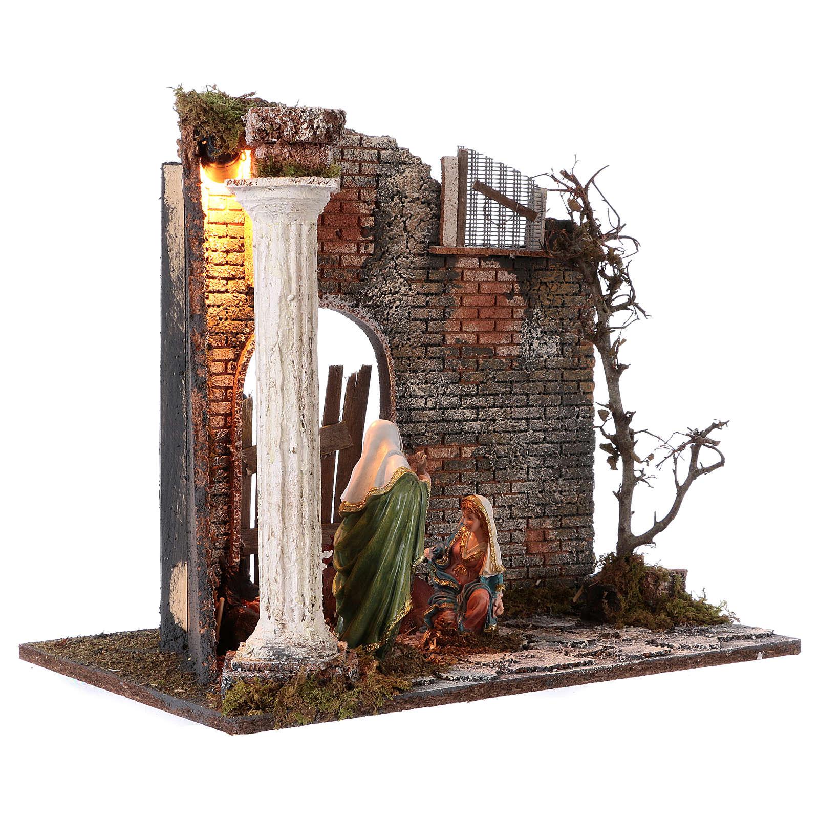 Templo con Natividad belén y luces 45x30x40 cm 4