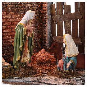 Templo con Natividad belén y luces 45x30x40 cm s2