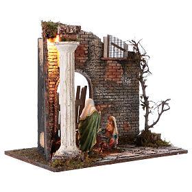 Templo con Natividad belén y luces 45x30x40 cm s4