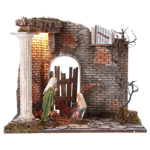 Templo con Natividad belén y luces 45x30x40 cm 1
