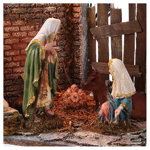 Templo con Natividad belén y luces 45x30x40 cm 2