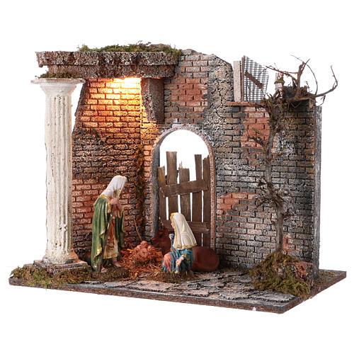Templo con Natividad belén y luces 45x30x40 cm 3