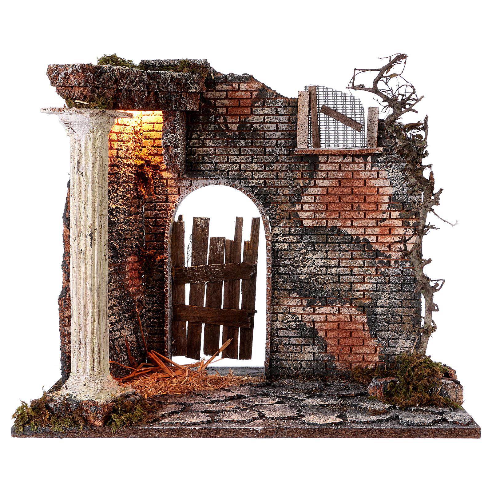 Hausfassade mit Säule und Licht 45x30x40cm für Krippe 4