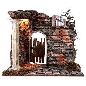Hausfassade mit Säule und Licht 45x30x40cm für Krippe s1